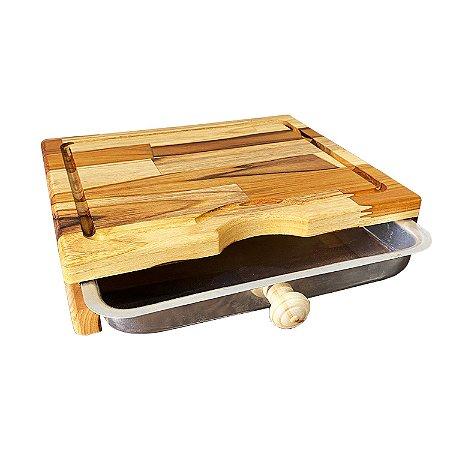 Tábua Para Churrasco Carne Corte Com Bandeja Prática Madeira Teca 31,5x27cm