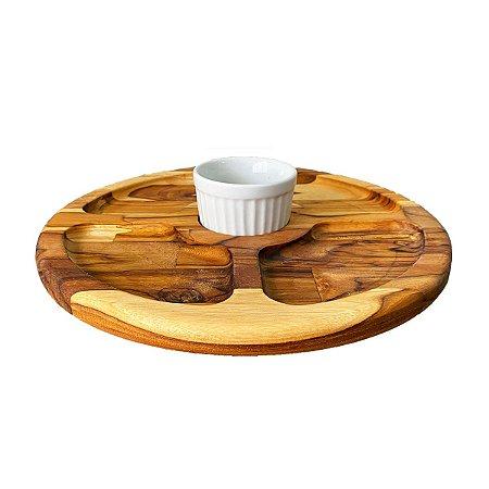 Petisqueira De Madeira com 4 Divisões + 1 Pote Porcelana 29,5cm Madeira Teca