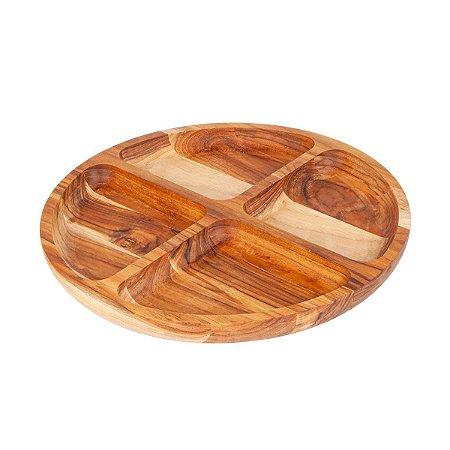 Petisqueira De Madeira com 4 Divisões 35,5x2,8cm Teca Exclusiva