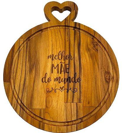 Tábua de Corte Redonda em Madeira Especial dia das Mães Pegador Formato Coração - 29x29x2cm