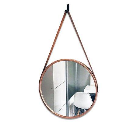 Espelho Redondo Com Alça Adnet Decorativo Moldura Rose 40cm