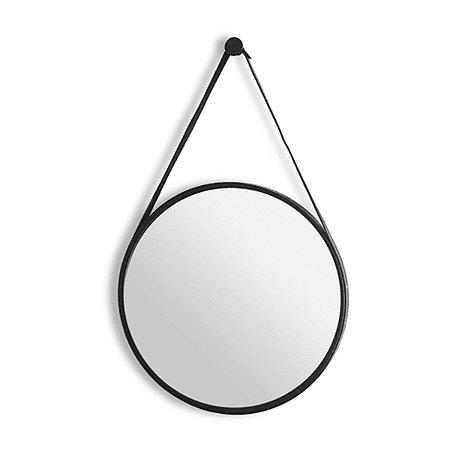 Espelho Redondo Com Alça Adnet Decorativo Moldura Preto 40cm