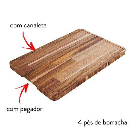 Tábua De Carne Para Churrasco 42x28cm Madeira Teca Com Pezinho e Pegador