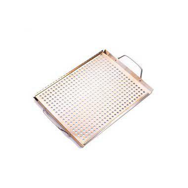 Bandeja Aço Inox Polida Para Grelhar em Churrasqueira 46x28cm