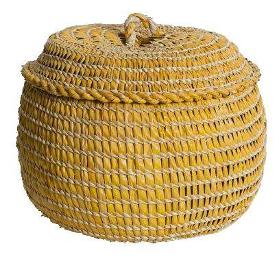 cesto de palha de carnaúba amarelo
