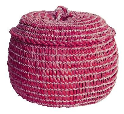 cesto de palha de carnaúba pink