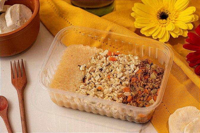 Carninha moída com legumes, arroz integral a grega e creme de mandioca - Big Maluquete