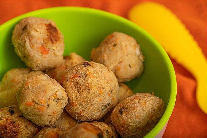 Bolinhas de frango com batata doce e temperinhos naturais - Marombinha