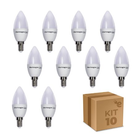 Kit 10 Lâmpadas Vela Led Demape 3w E14 Branco Frio