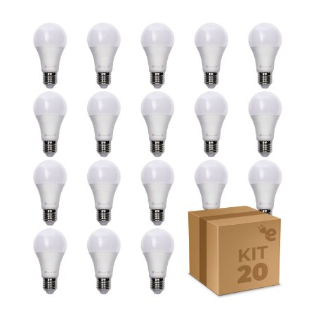 Kit 20 Lâmpada LED Bulbo A60 4,8W Branco Quente