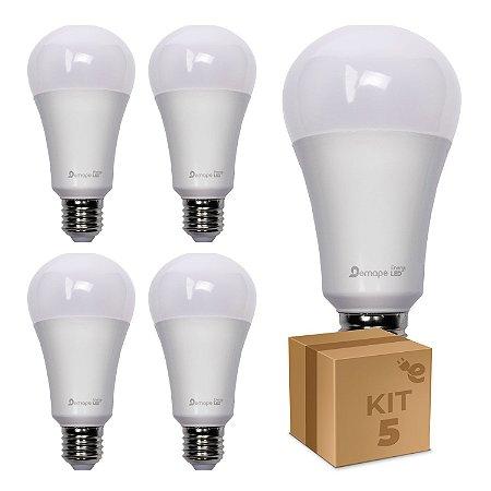 Kit 5 Lâmpada LED Bulbo A65 12W Branco Quente