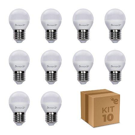 Kit 10 Lâmpada LED Bolinha E27 4,5W Branco Quente