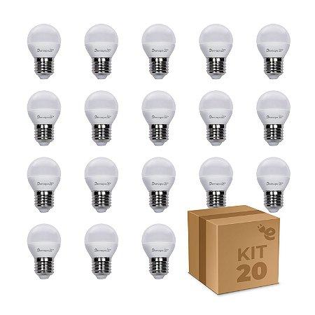 Kit 20 Lâmpada LED Bolinha E27 4,5W Branco Quente