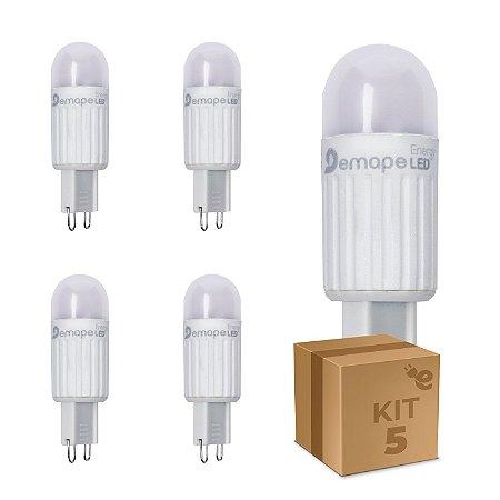Kit 5 Lâmpada LED Halopin G9 2,5W Branco Quente