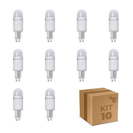 Kit 10 Lâmpada LED Halopin G9 2,5W Branco Quente