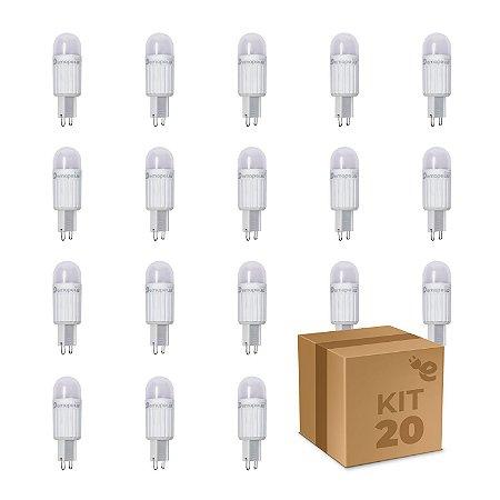 Kit 20 Lâmpada LED Halopin G9 2,5W Branco Quente