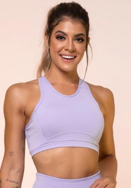 Top fitness lilás cruzado com bojo removível