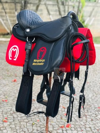 Sela Australiana Gel Completa para Cavalgada com bordado Mangalarga Marchador