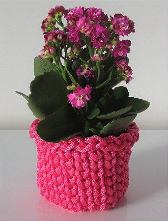 Porta treco de crochê P rosa pink