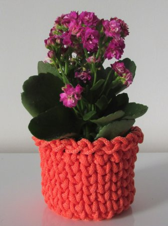 Porta treco de crochê P coral