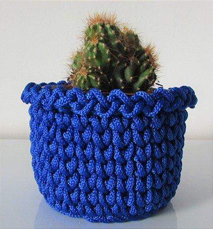 Porta treco de crochê M azul
