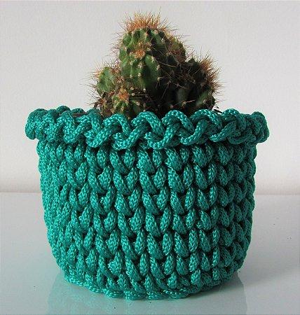 Porta treco de crochê M verde bandeira