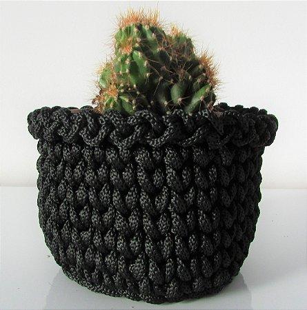 Porta treco de crochê M preto