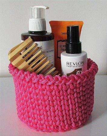 Porta treco de crochê G rosa pink