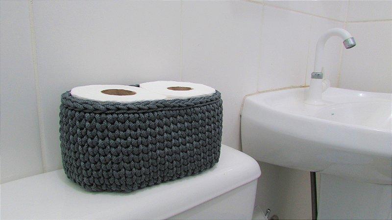 Porta papel higiênico de crochê duplo