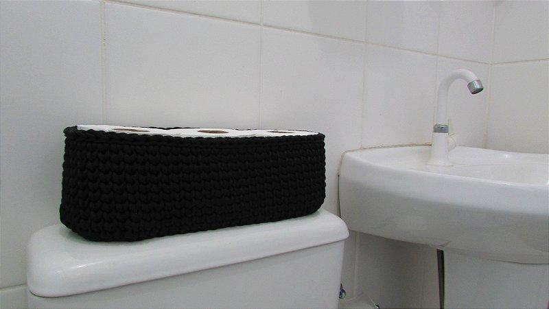 Porta papel higiênico de crochê triplo