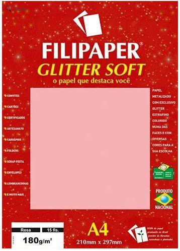 PAPEL GLITTER SOFT A4 180 g/m2 15 FOLHAS FILIPERSON CORES DISPONÍVEIS