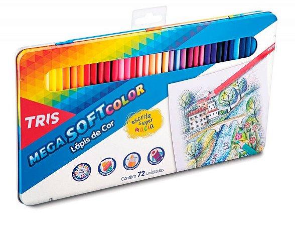 Lápis De Cor Mega Soft Color 72 Cores Em Lata – Tris