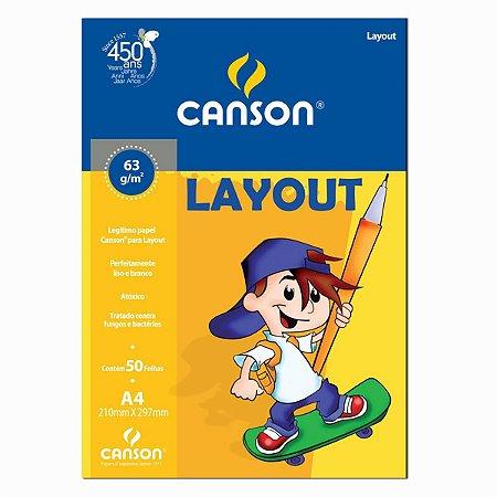 PAPEL CANSON ESCOLAR LAYOUT A4 63G PACOTE COM 50 FOLHAS