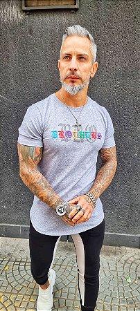 Camiseta Long Grey Colored Writings