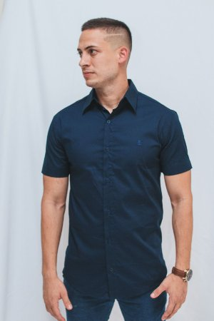 Camisa Slim Manga Curta Marinho