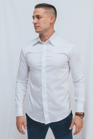 Camisa Slim Botão Embutido Manga Longa Branca