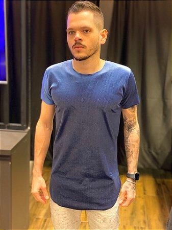 Camiseta Long Veludo Shine Blue