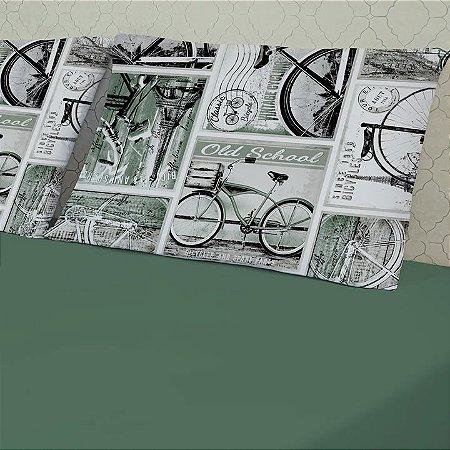 Jogo de Cama Solteiro 2 peças de Malha Slim Edromania Bike Verde Curitiba