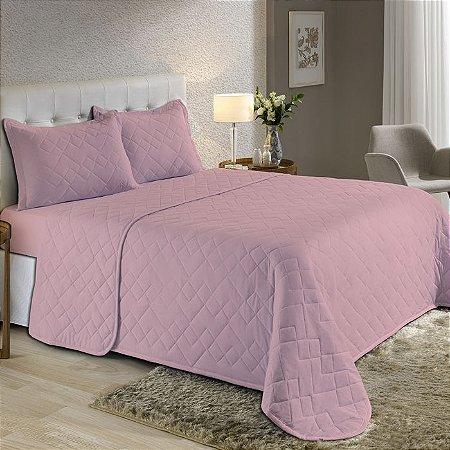 Kit Cobreleito Queen de Malha com Porta travesseiros Edromania Fine Make Rosa