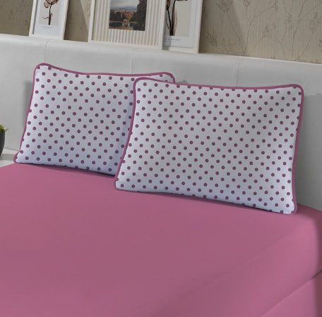 Kit: 1 Lençol de Malha Casal liso e 2 Fronhas Estampadas Edromania Club Rosa
