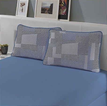 Kit: 1 Lençol de Malha Queen liso e 2 Fronhas Estampadas Edromania Slim Lyon Azul