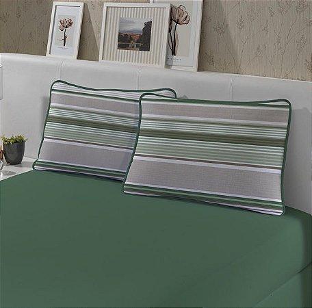 Kit: 1 Lençol de Malha Queen liso e 2 Fronhas Estampadas Edromania Slim Cestaria Verde