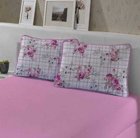 Kit: 1 Lençol de Malha Queen liso e 2 Fronhas Estampadas Edromania Slim Line Rosa
