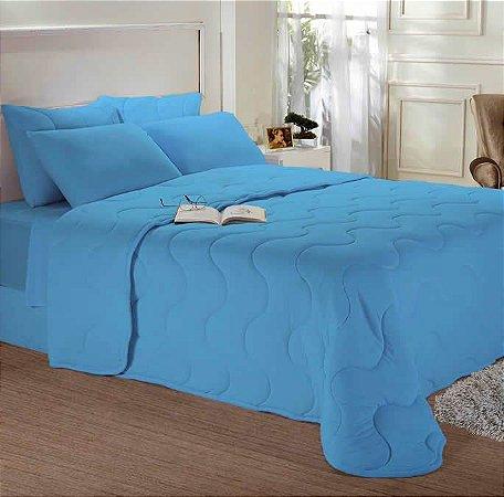 Edredom King de Malha Liso Azul - Edromania