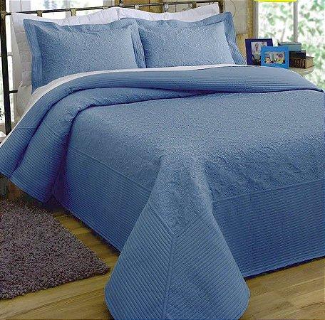 Kit Colcha King com Porta Travesseiros Microfibra - Provence Azul