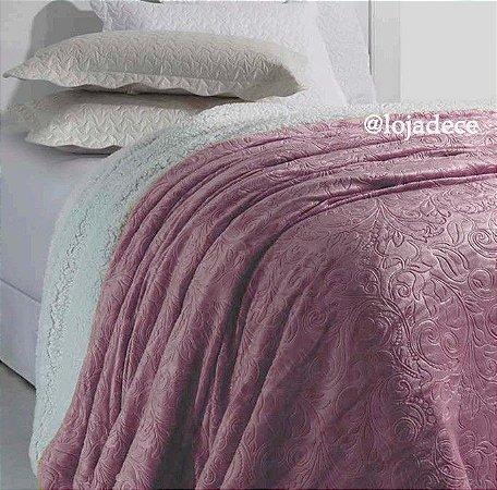 Cobertor Soft Flannel Dupla Face Manta Sherpa - Queen - Vermont InterHome - Rose