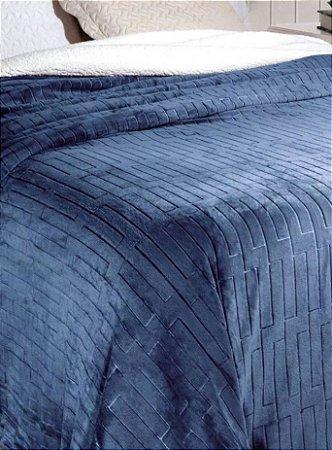 Cobertor Soft Flannel Dupla Face Manta Sherpa - Queen - Vermont InterHome - Azul