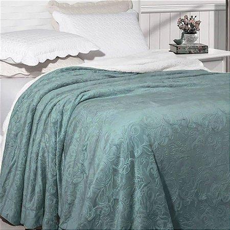 Cobertor Soft Flannel Dupla Face Manta Sherpa - Queen - Vermont InterHome - Verde