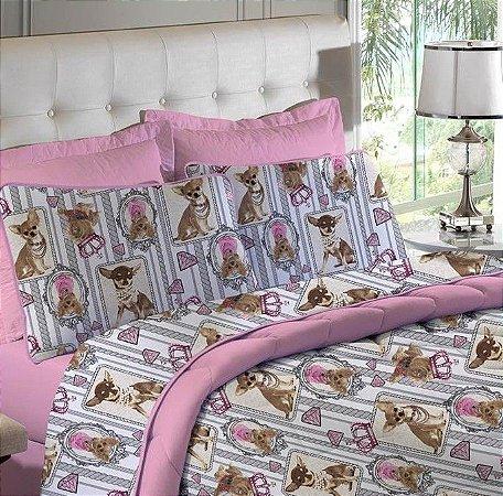 Edredom Solteiro de Malha Estampado Cachorro Candy Rosa - Edromania