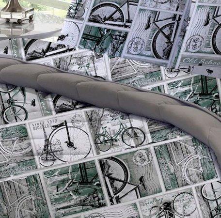Edredom Solteiro de Malha Estampado Dupla Face Bicycle